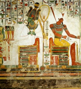 The Gods Osiris and Atum, from the Tomb of Nefertari, New Kingdom (wall painting) by Egyptian 19th Dynasty (c.1297-1185 BC); Valley of the Queens, Thebes, Egypt; (add. info.: atef, white crown of Upper Egypt with red feathers; double crown of Upper and Lower Egypt; Lord of the Two Lands); Giraudon; Egyptian, out of copyright